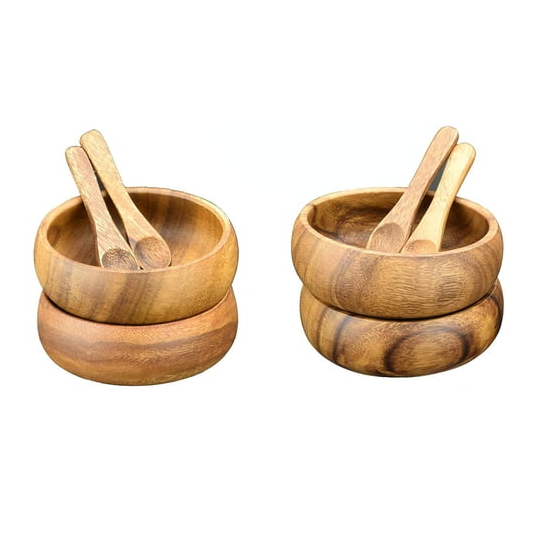 Acacia Wood Round Nut & Dipping Bowls with Spoons, Set of 8 Pieces