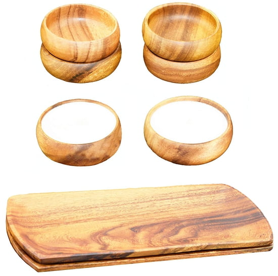 8-pc Acacia Wood Oval Serving Tray with Dipping & Nut Bowls and Unscented Natural Soy Candles