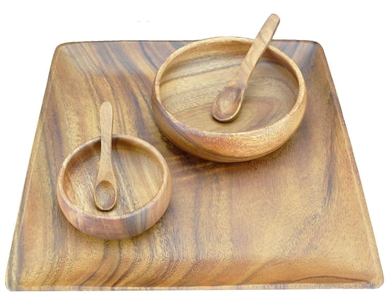 Acacia Wood 12 in. Square Plate/Tray with Salad Bowl, Nut & Dipping Bowl and Spoons, Set of 5 Pieces