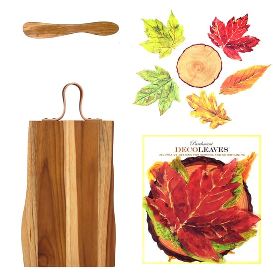 "Teak Wood Serving Board w/Strap, Spreader And Decorative Food-Safe ""Into The Woods"" Parchment Cheese Leaves"