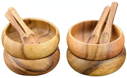 Acacia Wood 4-inch Diam by 1.5 Round Dipping and Nut Bowls with Spoons (Set of 8) 16 pc Total