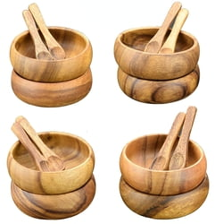Acacia Wood 4-Inch Diam by 1.5 Round Dipping and Nut Bowls with Spoons (Set of 8) 16pc Total