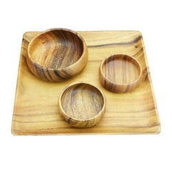 Acacia Wood 12 in. Square Plate/Tray with Salad & Dipping Bowls, Set of 4 Pieces