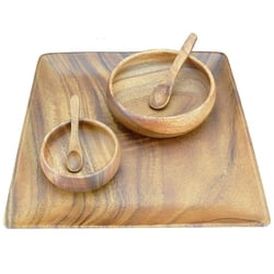 "Acacia Wood 5-Piece Set with 12"" Square Plate/Tray, 6"" Round Serving Bowl, 4"" Round Dipping Bowl and Spoons"