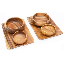 Acacia Wood Appetizer Serving Trays with Salad & Dip Serving Bowls, Set of 6 Pieces