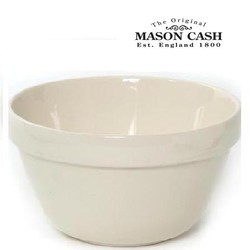 "Mason Cash White Pudding Basin, Size 18, 8.75"" x 4.75"" (3qts)"