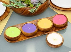 5-pc Acacia Wood Baguette Serving Tray with Green/Purple/Orange/Pink Unscented Natural Soy Candles