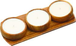 4-pc Acacia Wood Oval Serving Tray with 3 White Unscented Natural Soy Candles