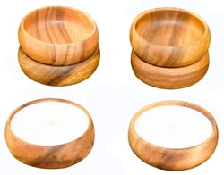 "6-pc Acacia Wood Dipping & Nut Bowls, 4"" x 1.5"" with White Unscented Natural Soy Candles"