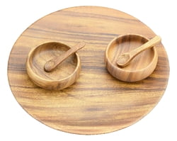 "5-pc Acacia Wood Round Appetizer & Cheese Serving Tray, 12"" with 4"" Nut, Dipping & Sauce Bowls and 2 Spoons"