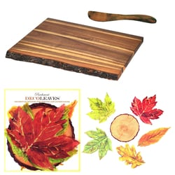 "Acacia Wood Rustic Cutting Board, Spreader And Decorative Food-Safe ""Into The Woods"" Parchment Cheese Leaves"