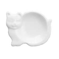 Porcelain Cat Tea Bag Caddy, 3.75""