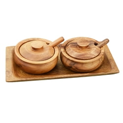 "Acacia Wood 2-Piece Condiment Set, 9"" x 4"" with Tray, Lids & Spoons"